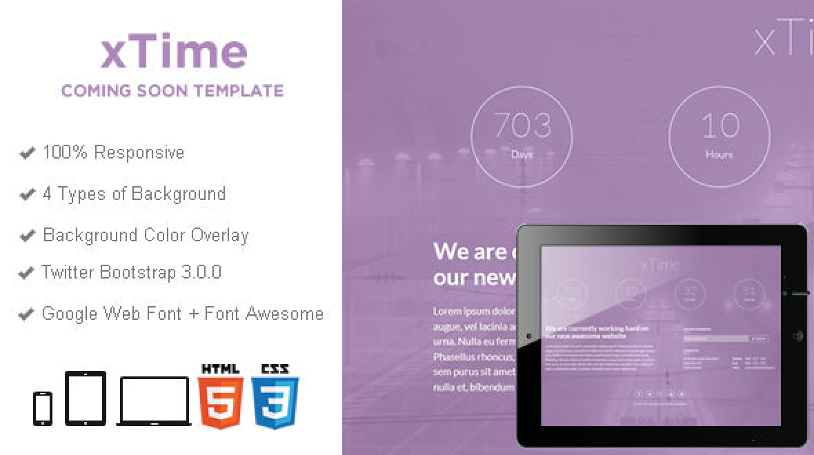 xTime - Responsive Coming Soon Template