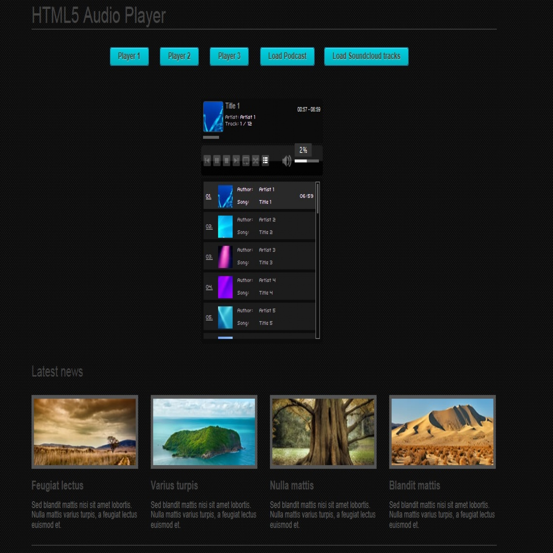 html5 video player template - html5 audio player plugins extensions