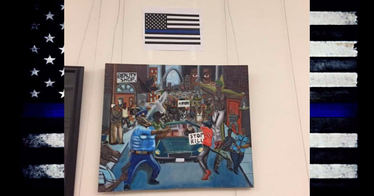 Thin Blue Line Flag Outshines Anti-Police Pig Painting Hung By Dem. Rep. Lacy Clay