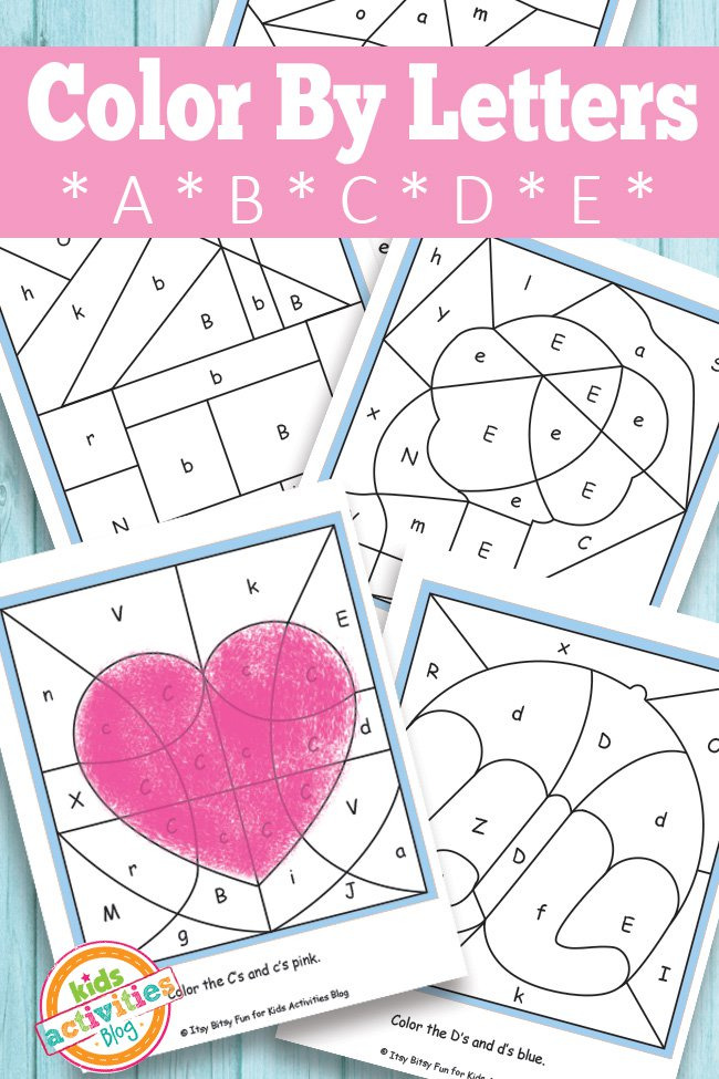 color by letters a b c d e free kids printable kids activities. Black Bedroom Furniture Sets. Home Design Ideas