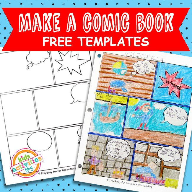 Comic book templates free kids printable kids activities for Printable blank comic strip template for kids
