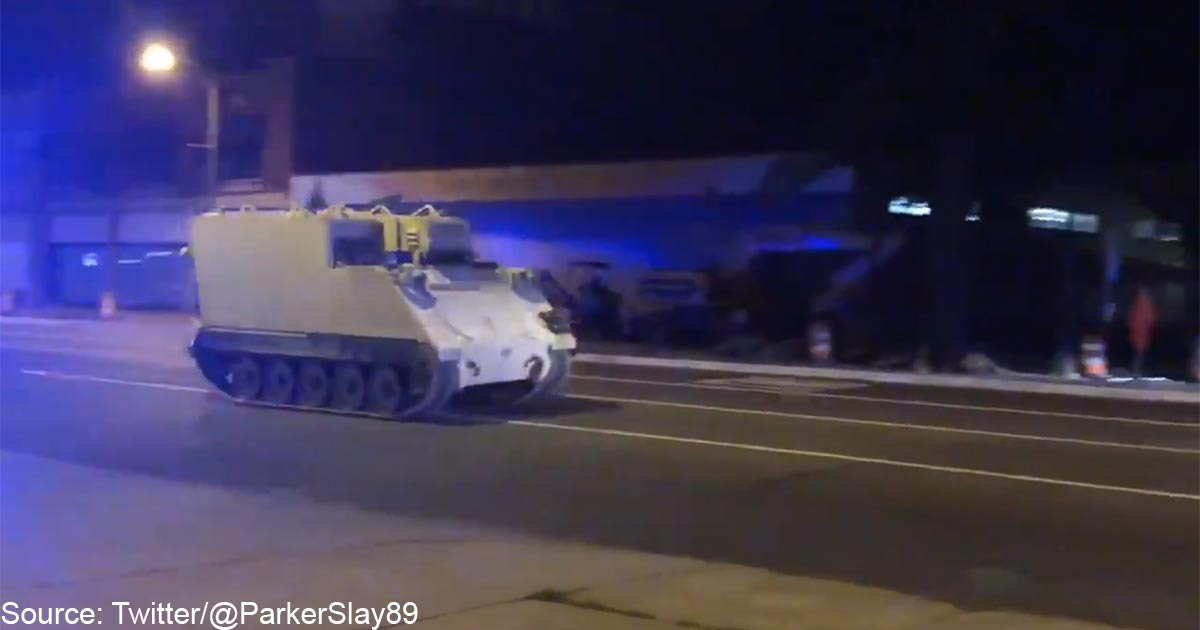 BREAKING VIDEO: Police In Pursuit Of Stolen Armored Personnel Carrier