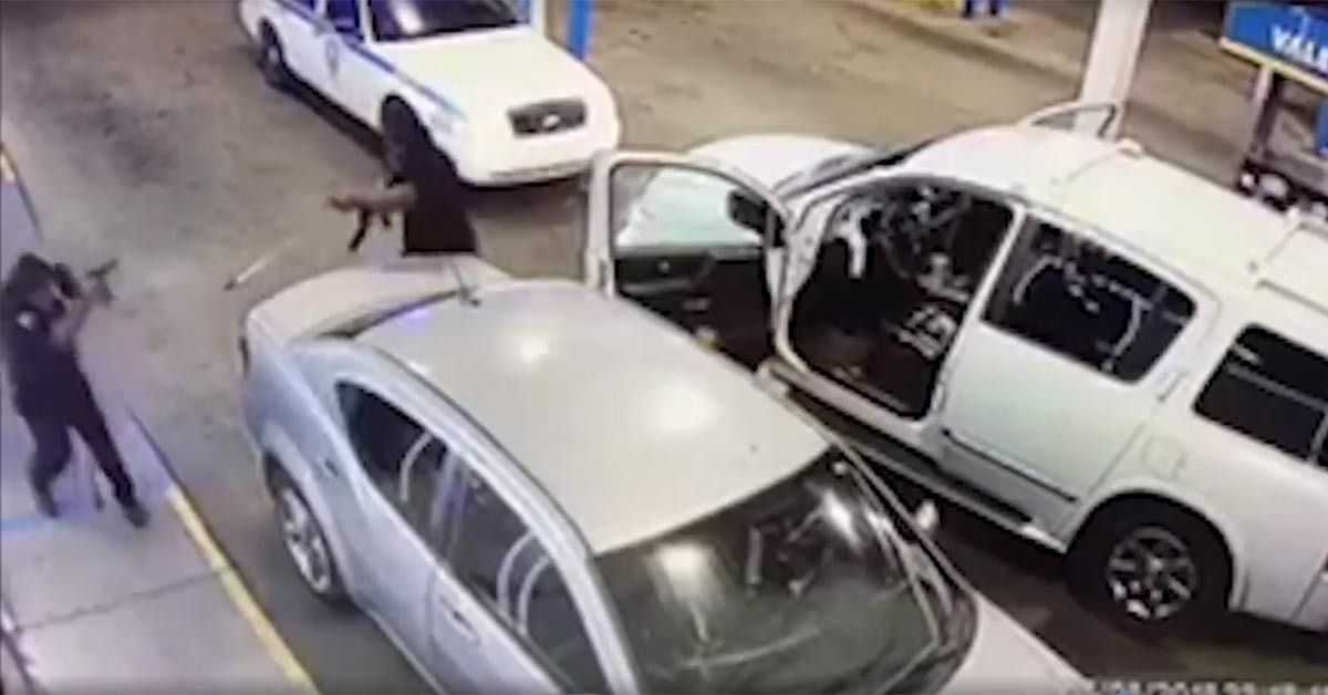 VIDEO: Lone Cop Destroys Two Men Trying To Kill Him In Gas Station Gunfight