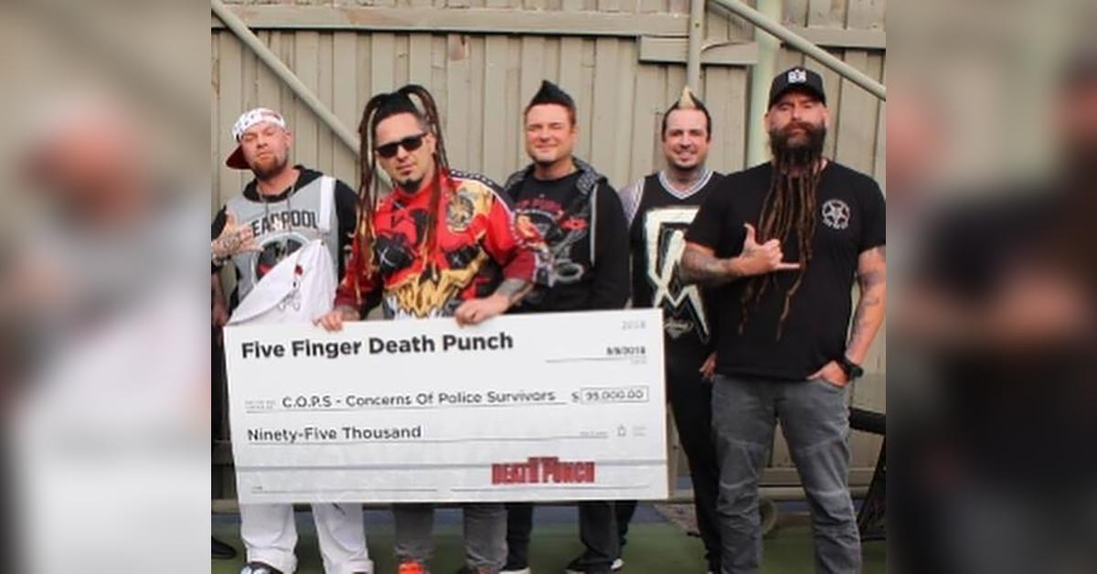 Five Finger Death Punch Writes Huge Check For Families Of Fallen Officers