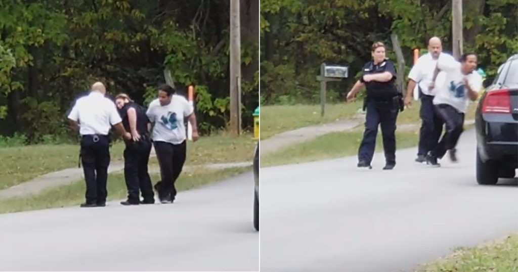 VIDEO: Wanted Fugitive Resists Arrest, Runs Off – Cops Appear To Turn Around And Walk The Other Way