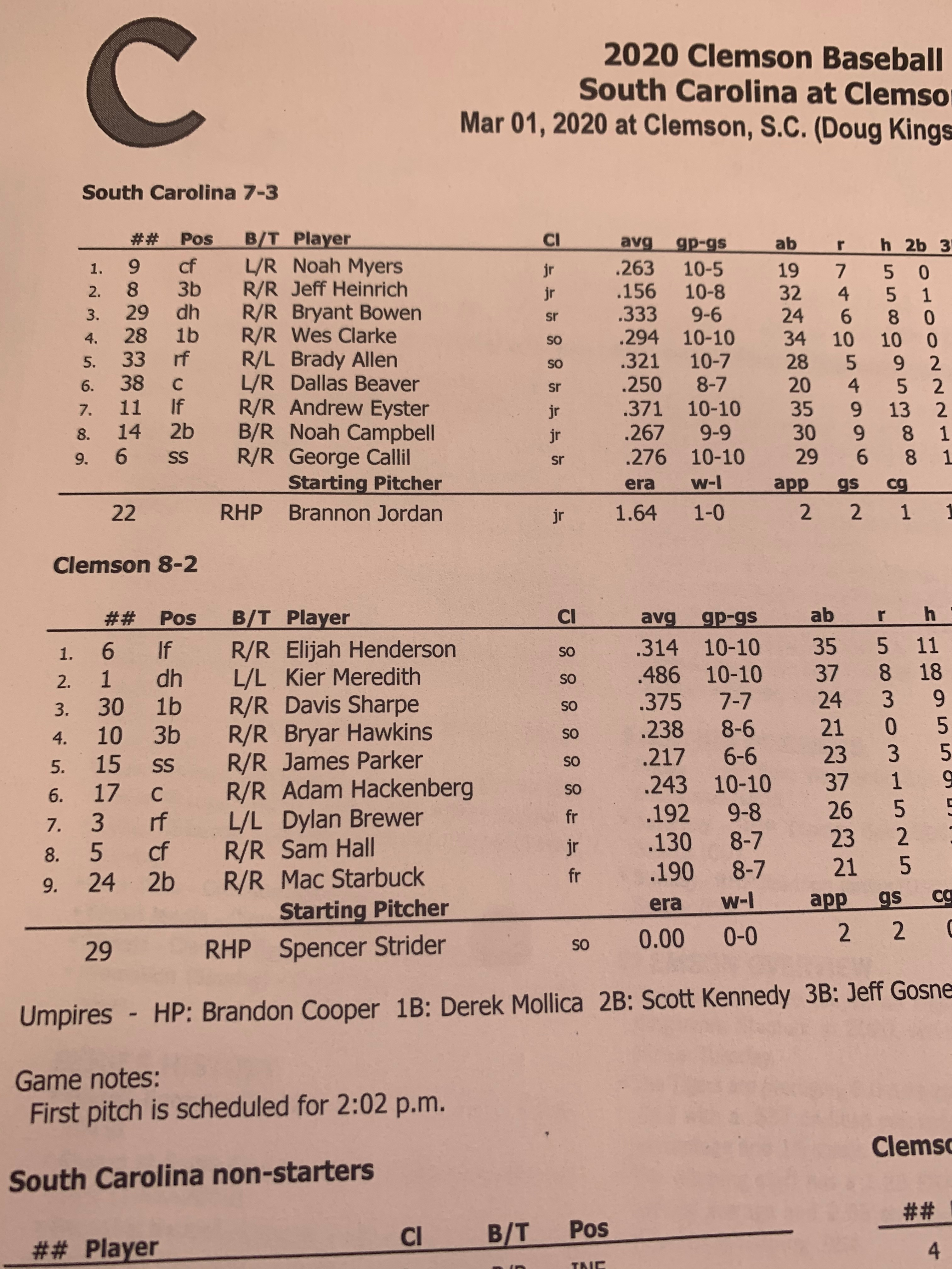 Flipboard: Lineups for Game 3 of the South Carolina ...