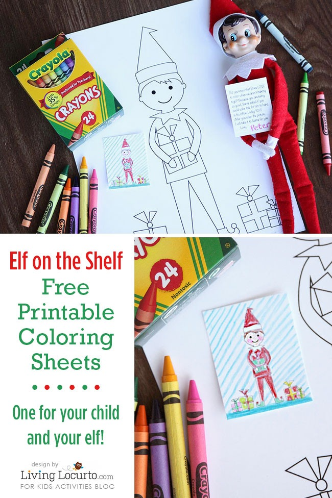 ELF ON THE SHELF SIZED COLORING SHEETS KID SIZED COLORING SHEETS