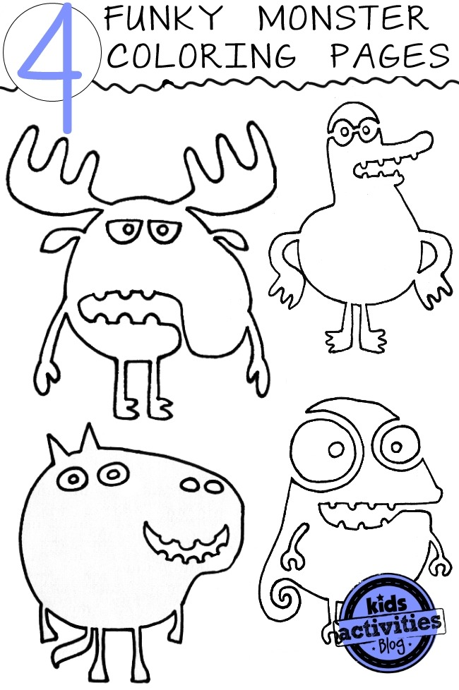 4  crazy  funky monster coloring pages