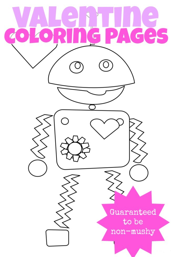 3 NONMUSHY VALENTINES DAY COLORING