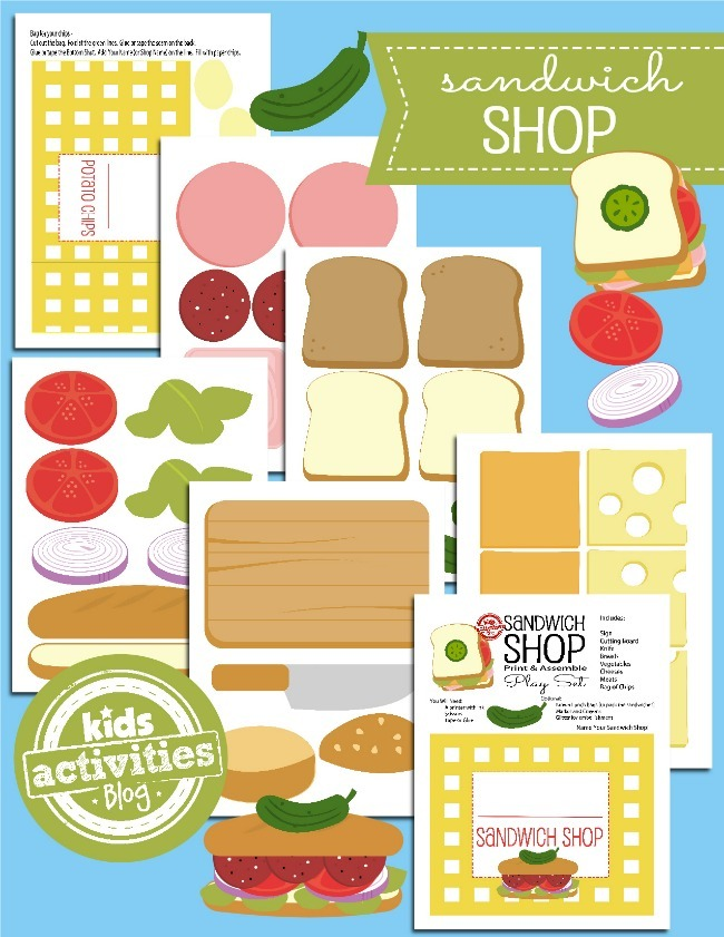 printable toys open a paper sandwich shop kids activities - Kids Activities Print