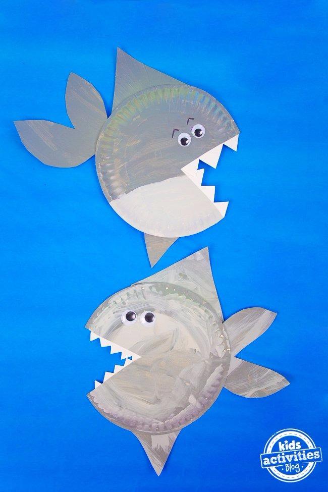 shark paper plate craft kids activities paper shark making color ...