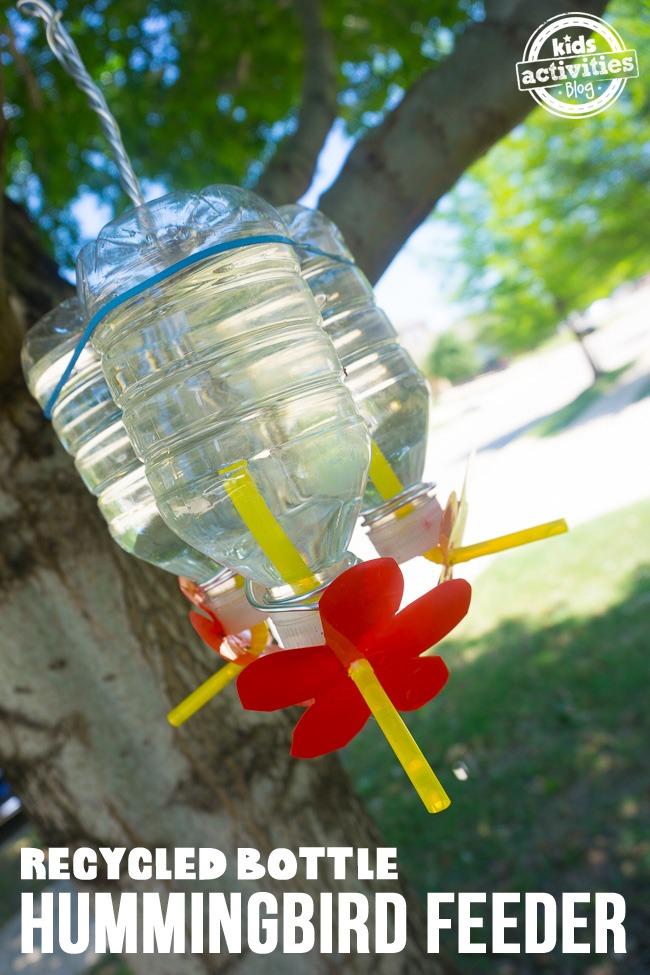 Recycled Bottle Hummingbird Feeder Kids Activities