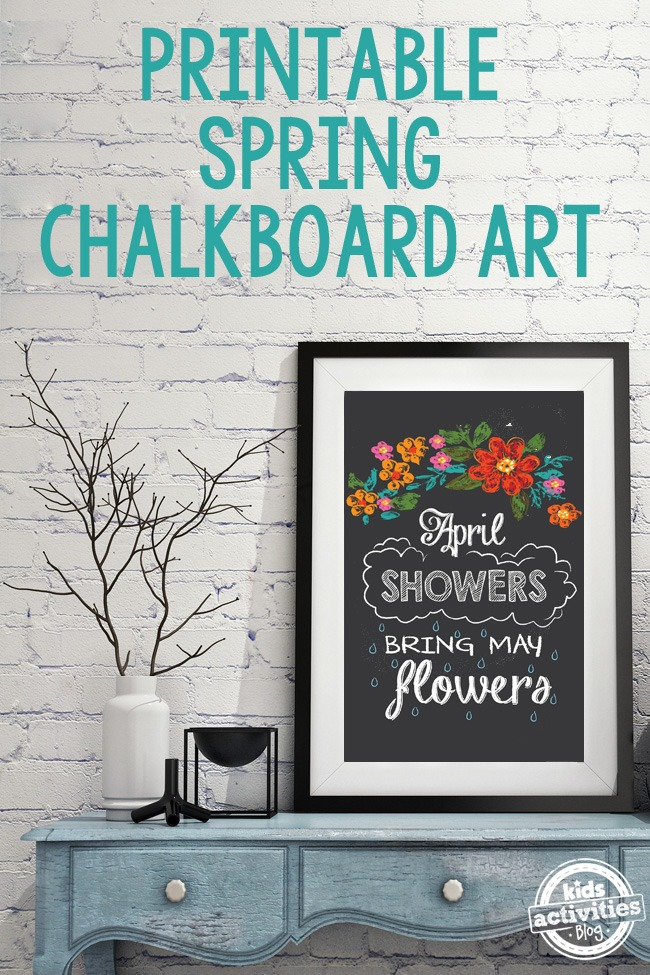 Printable Spring Chalkboard Art Kids Activities