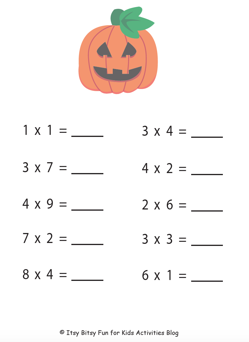 Halloween Multiplication Worksheets Kids Activities – Halloween Multiplication Worksheet