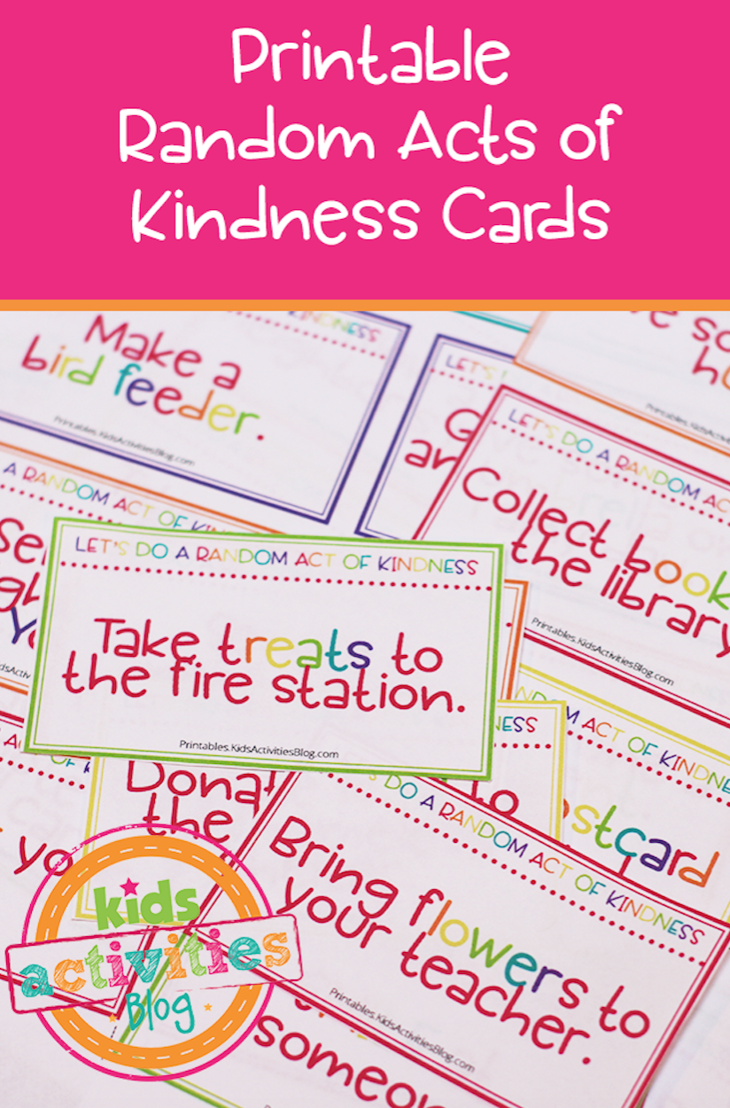 photograph about Random Act of Kindness Printable identified as Random Functions of Kindness Playing cards - Small children Actions