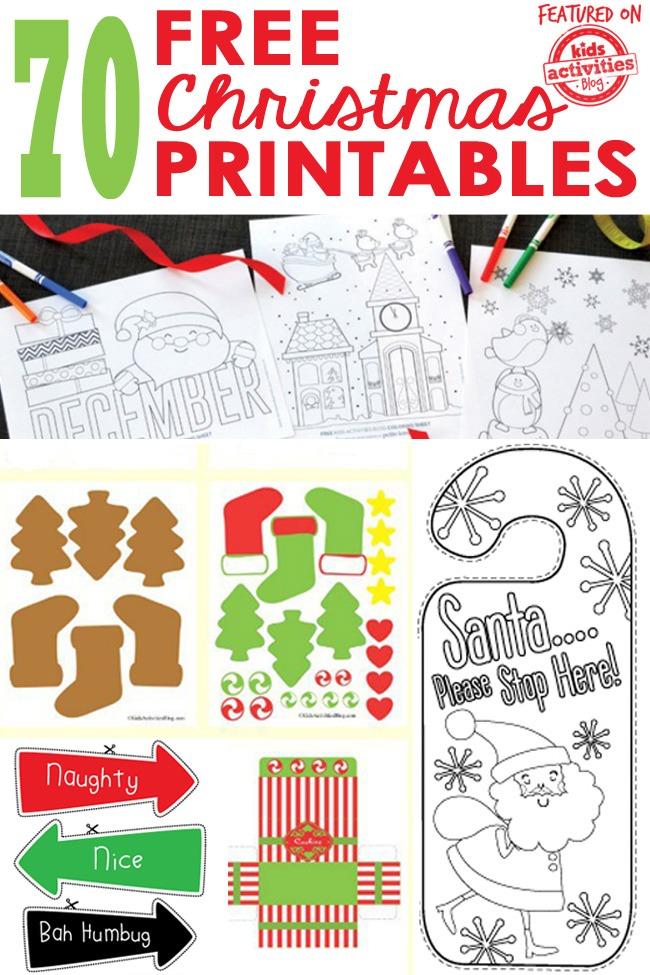 70 FREE CHRISTMAS PRINTABLES - Kids Activities