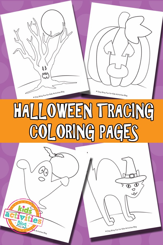 HALLOWEEN TRACING COLORING PAGES FREE PRINTABLE Kids