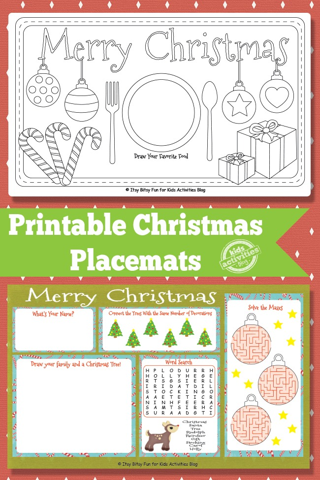 PRINTABLE CHRISTMAS PLACEMATS FREE KIDS PRINTABLE Kids