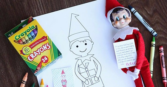 ELF ON THE SHELF SIZED COLORING SHEETS {KID SIZED COLORING ...