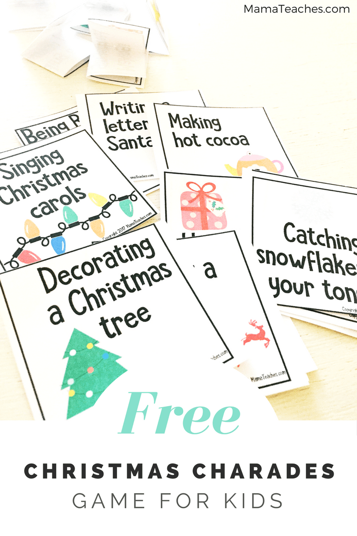 photo relating to Charades for Kids Printable called Printable Xmas Charades Video game for Youngsters - Mama Teaches
