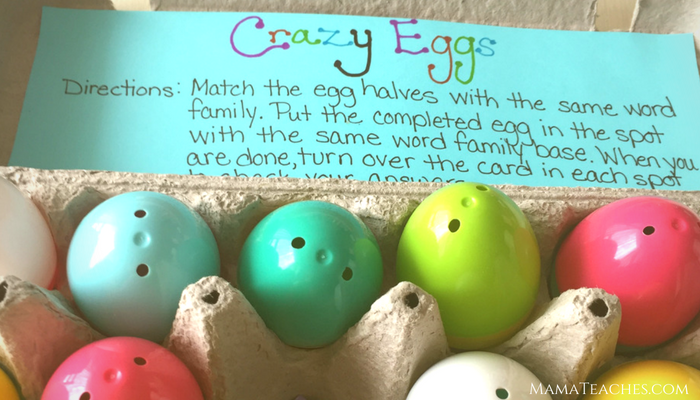 Crazy Eggs Word Family Game - A Reading Game for Early