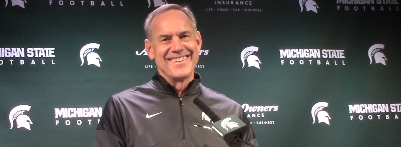 MICHIGAN STATE SPARTAN FOOTBALL COACH MARK DANTONIO FROM THE PODIUM AT BIG TEN!