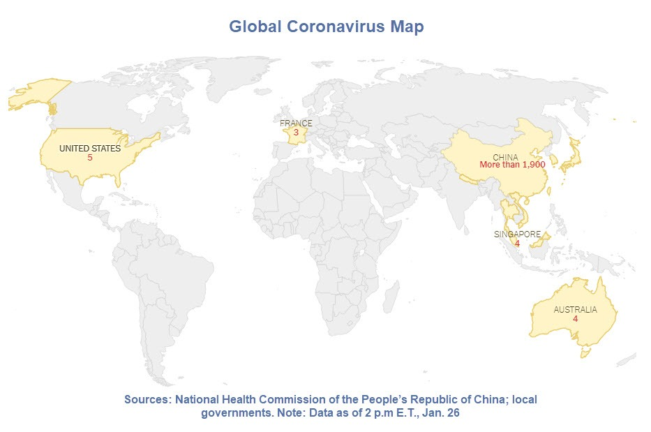 Global Coronavirus Cases Jump 50% Overnight, 5 Now in US