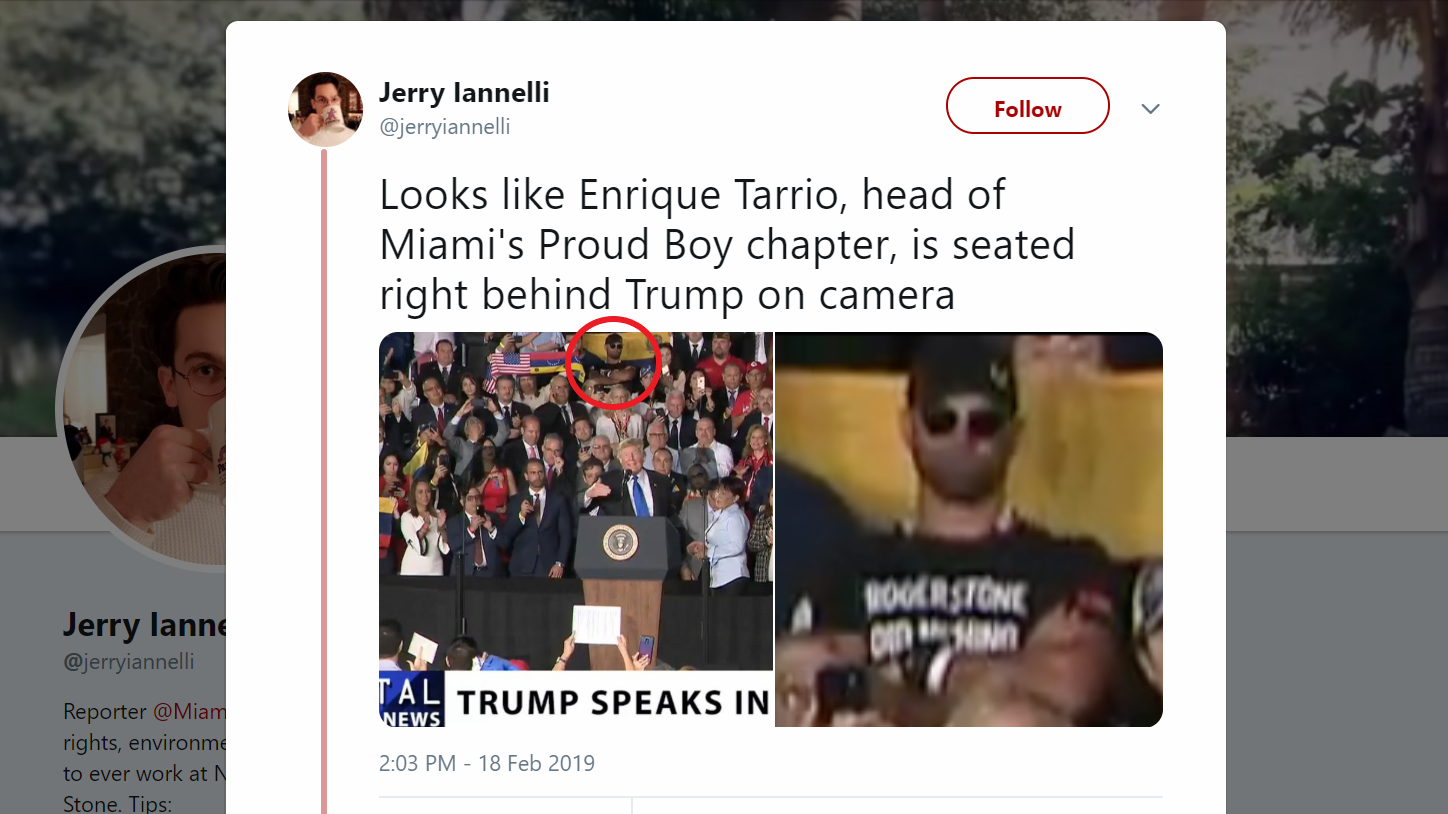 Leader Of Right Wing Terror Group Sat Behind Trump During His Venezuela Speech - The Intellectualist