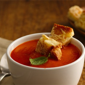 Charred Tomato Soup with Parmesan Crostini