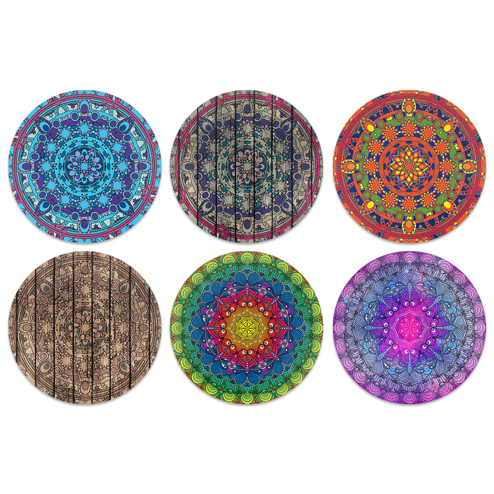 Bohemian Classic Design Absorbent Neoprene Coasters for Drinks, 6pc