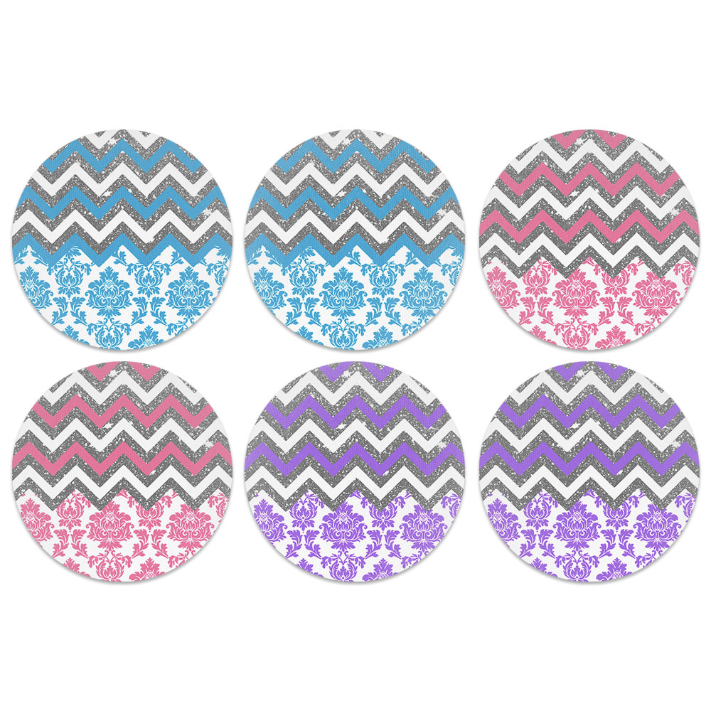 Chevron Floral Design Absorbent Neoprene Coasters for Drinks, 6pc