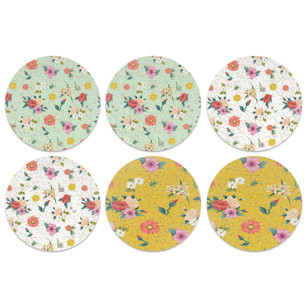 Floral Flowers Design Absorbent Neoprene Coasters for Drinks, 6pc