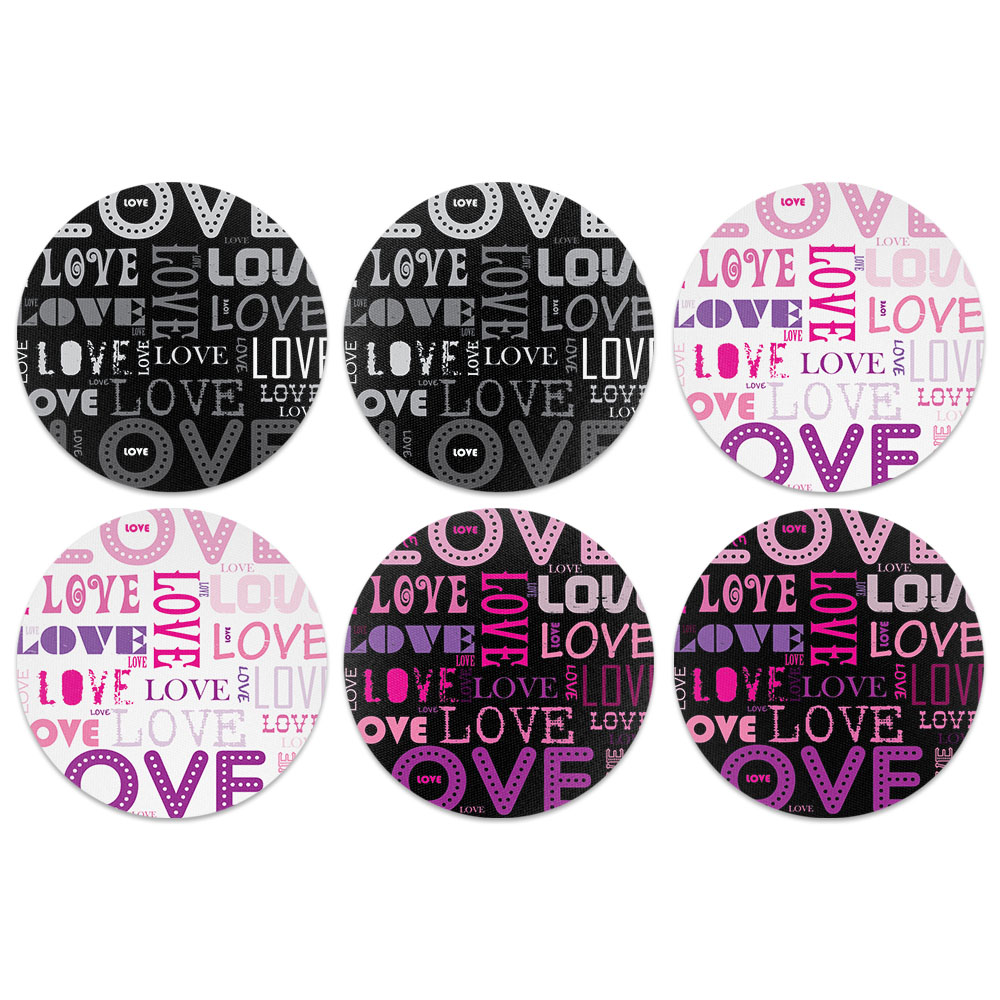 Love Text Design Absorbent Neoprene Coasters for Drinks, 6pc