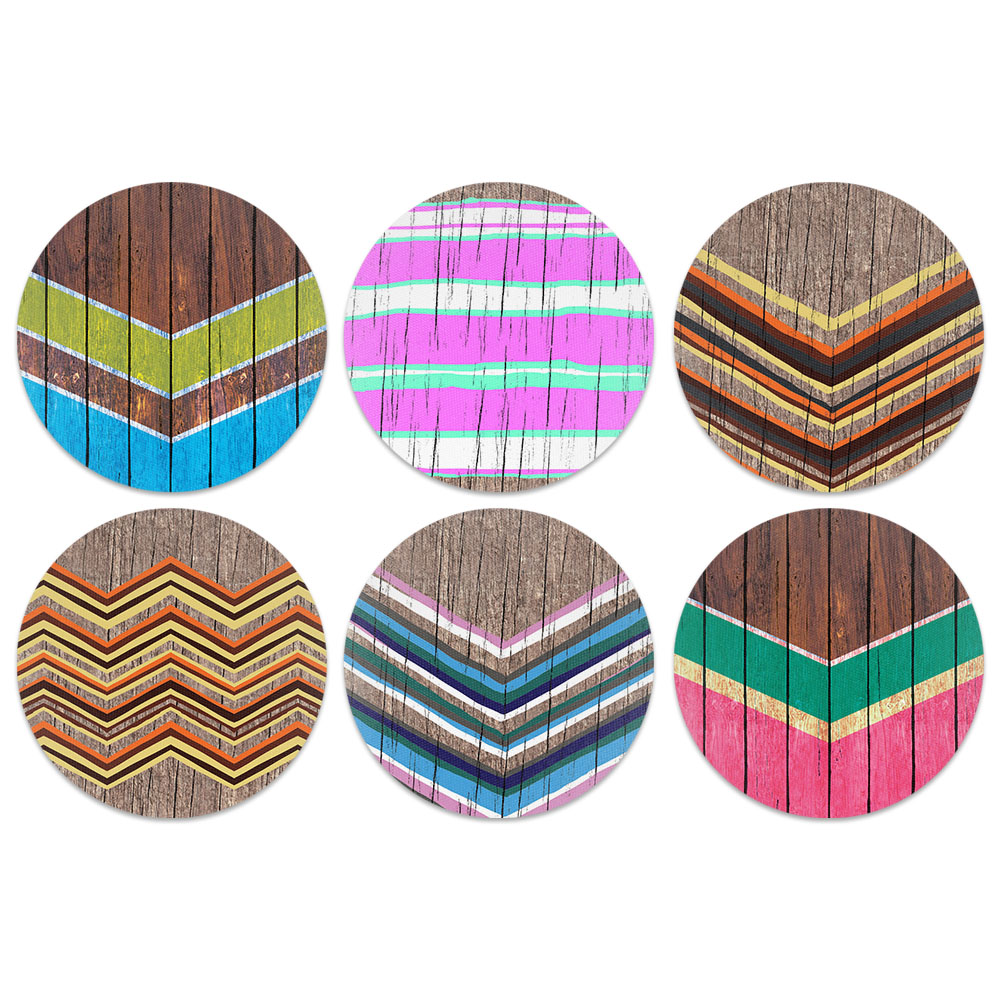 Wood Paint Works Design Absorbent Neoprene Coasters for Drinks, 6pc