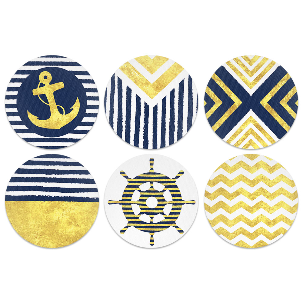 Blue Gold Pattern Design Absorbent Neoprene Coasters for Drinks, 6pc
