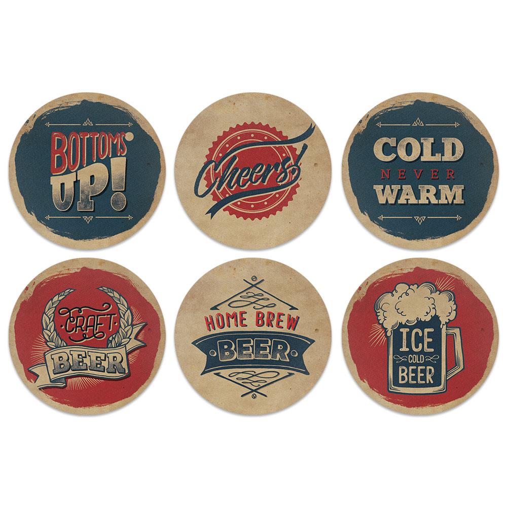 Vintage Paper Beer Design Absorbent Neoprene Coasters for Drinks, 6pc