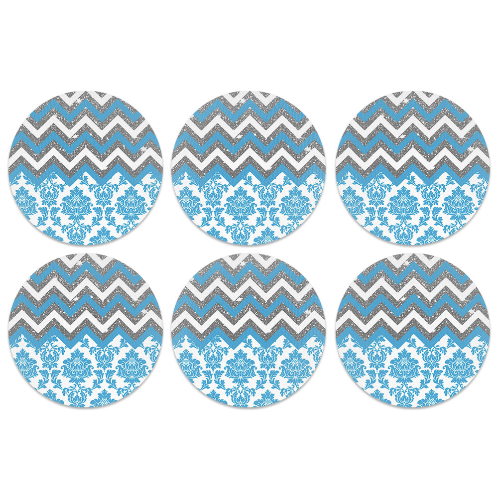 Baby Blue Chevron Damask Design Absorbent Neoprene Coasters for Drinks, 6pc