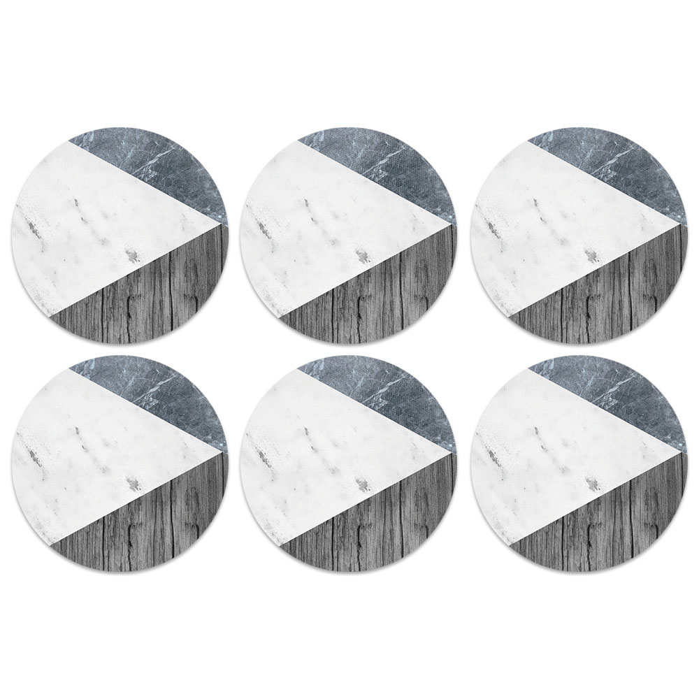 Blue White Marble Wood Coaster Design Absorbent Neoprene Coasters for Drinks, 6pc