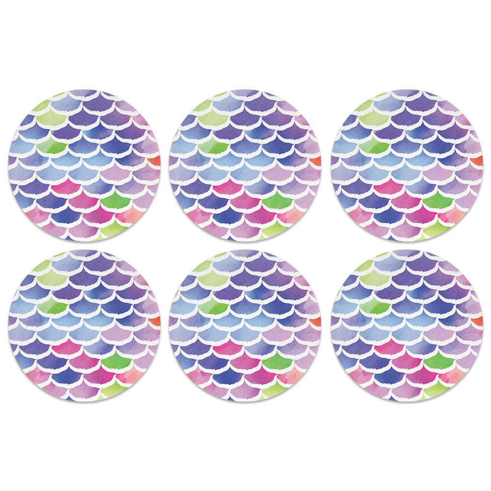 Mermaid Scales Colorful Coaster Design Absorbent Neoprene Coasters for Drinks, 6pc