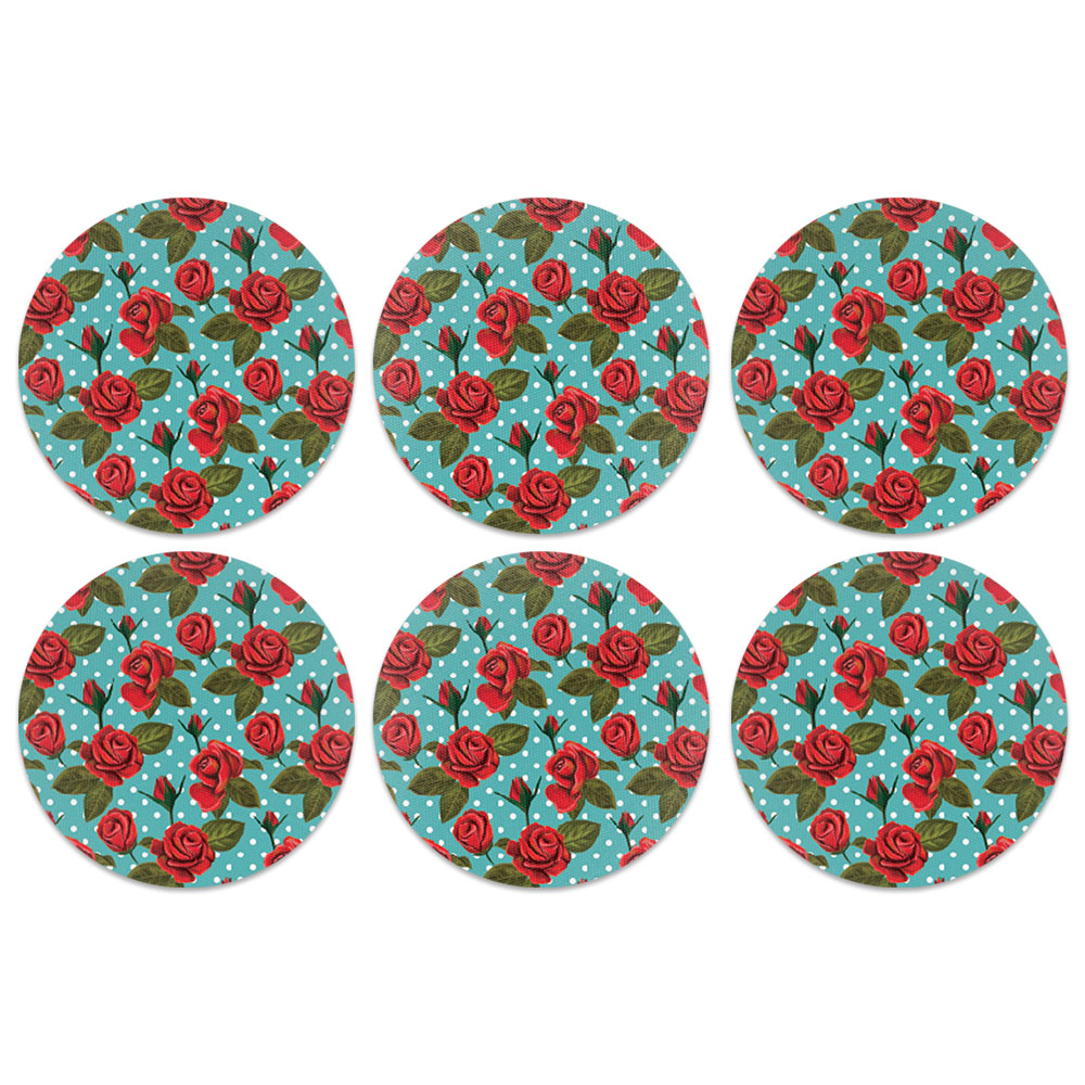 Red Rose Teal Polka Dots Design Absorbent Neoprene Coasters for Drinks, 6pc