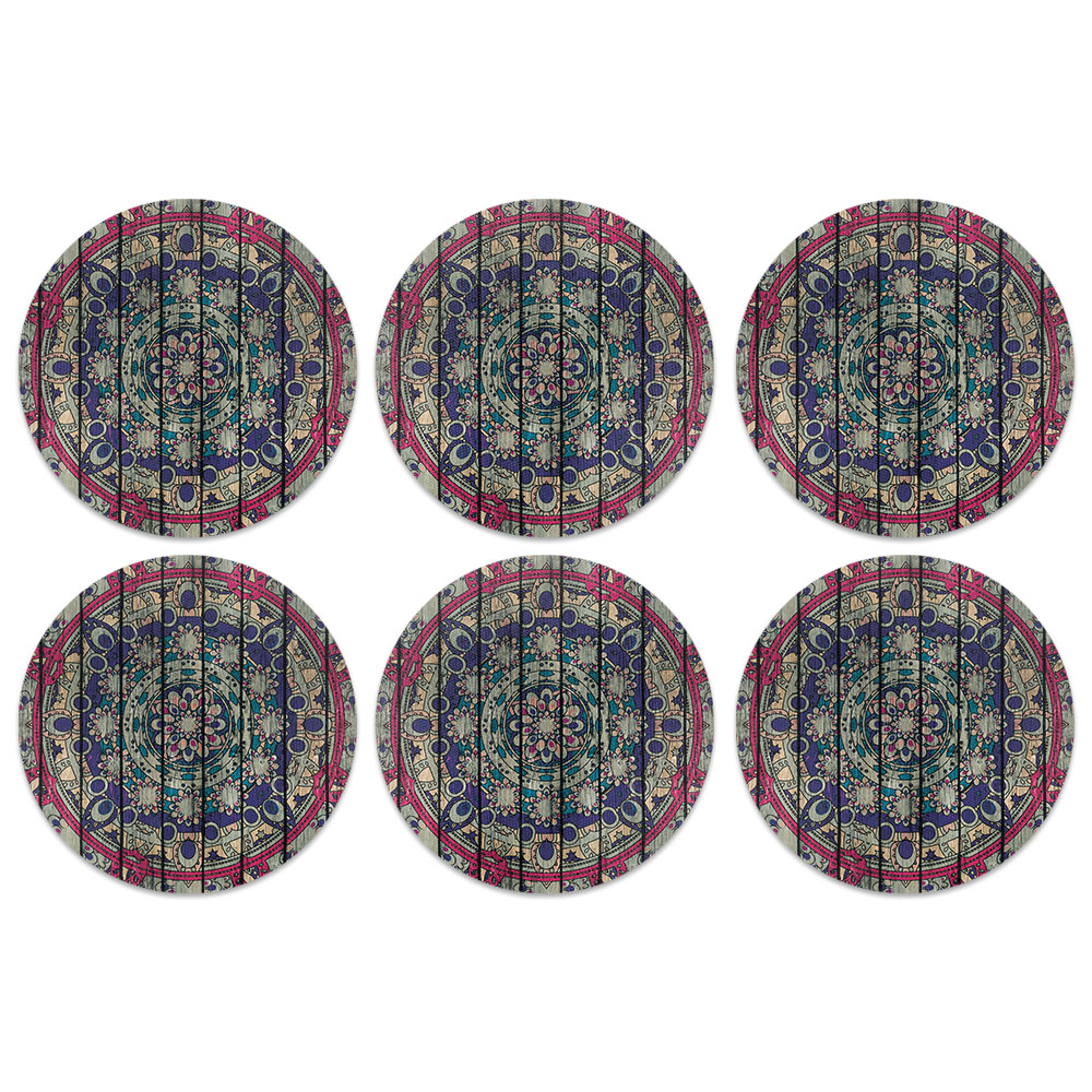 Tropical Blue Mandala Wooden Design Absorbent Neoprene Coasters for Drinks, 6pc