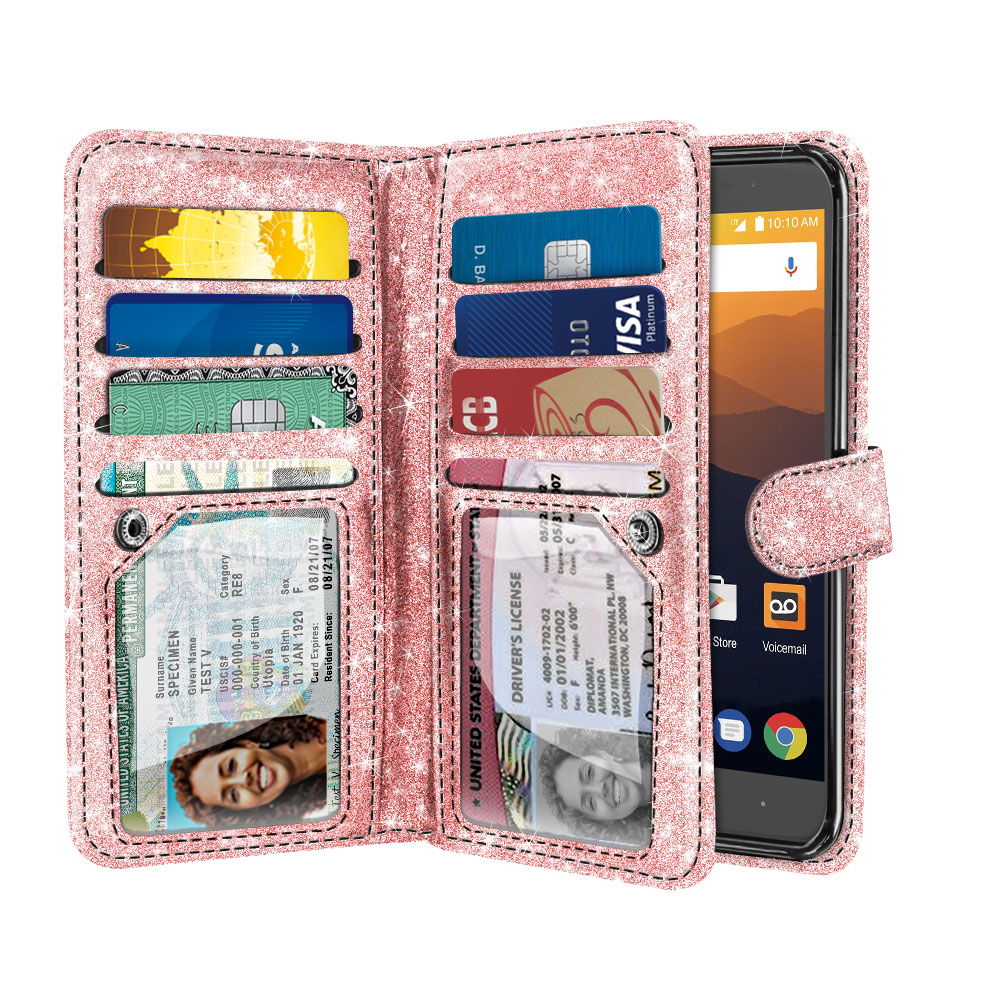 Details about For ZTE Max XL N9560 Bling Glitter Flip Wallet Card Holder  Pouch TPU Case Cover