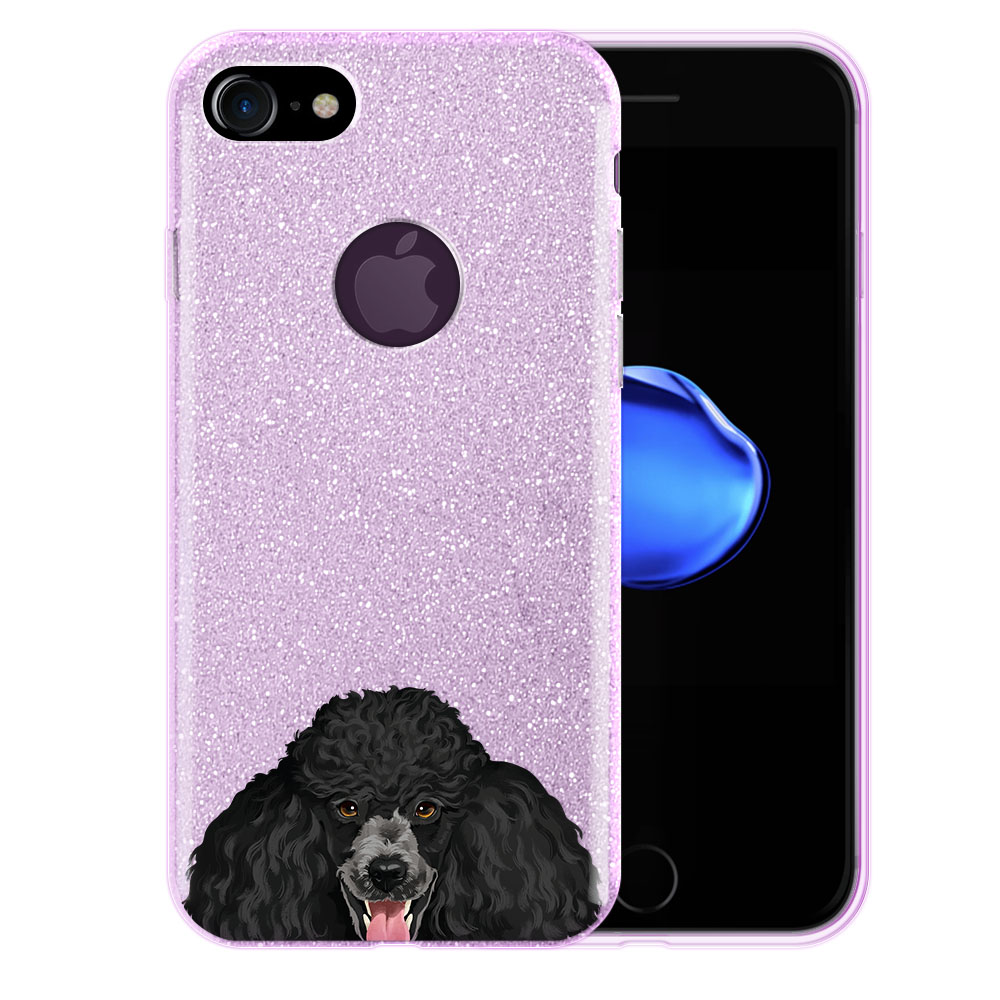 Hybrid Purple Glitter Clear Fusion Clear Black Standard Poodle Protector Cover Case for Apple iPhone 7 4.7 inch