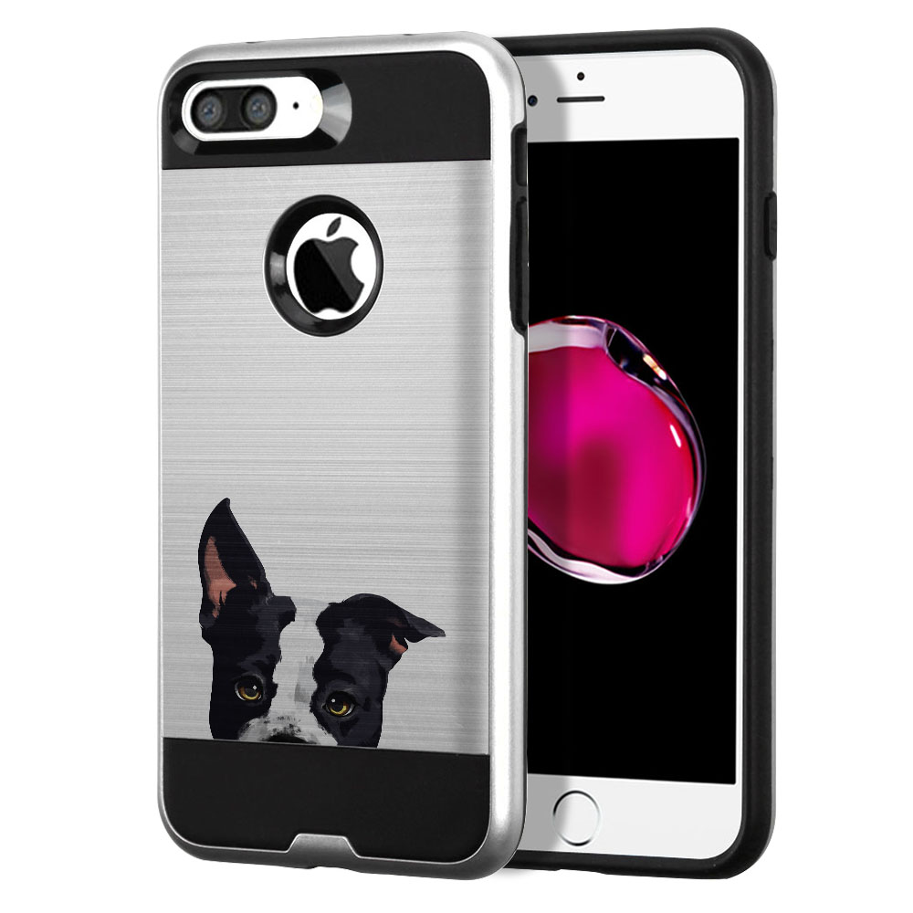 Hybrid Fusion Brushed American Pit Bull Puppy Dog Protector Cover Case for Apple iPhone 7 Plus 5.5 inch