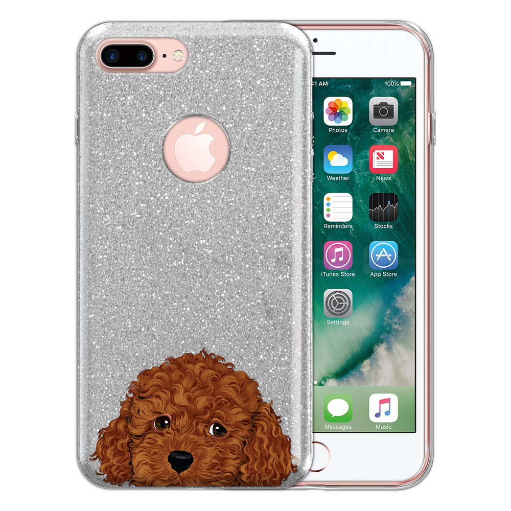 Hybrid Silver Glitter Clear Fusion Brown Toy Poodle Protector Cover Case for Apple iPhone 7 Plus 5.5 inch