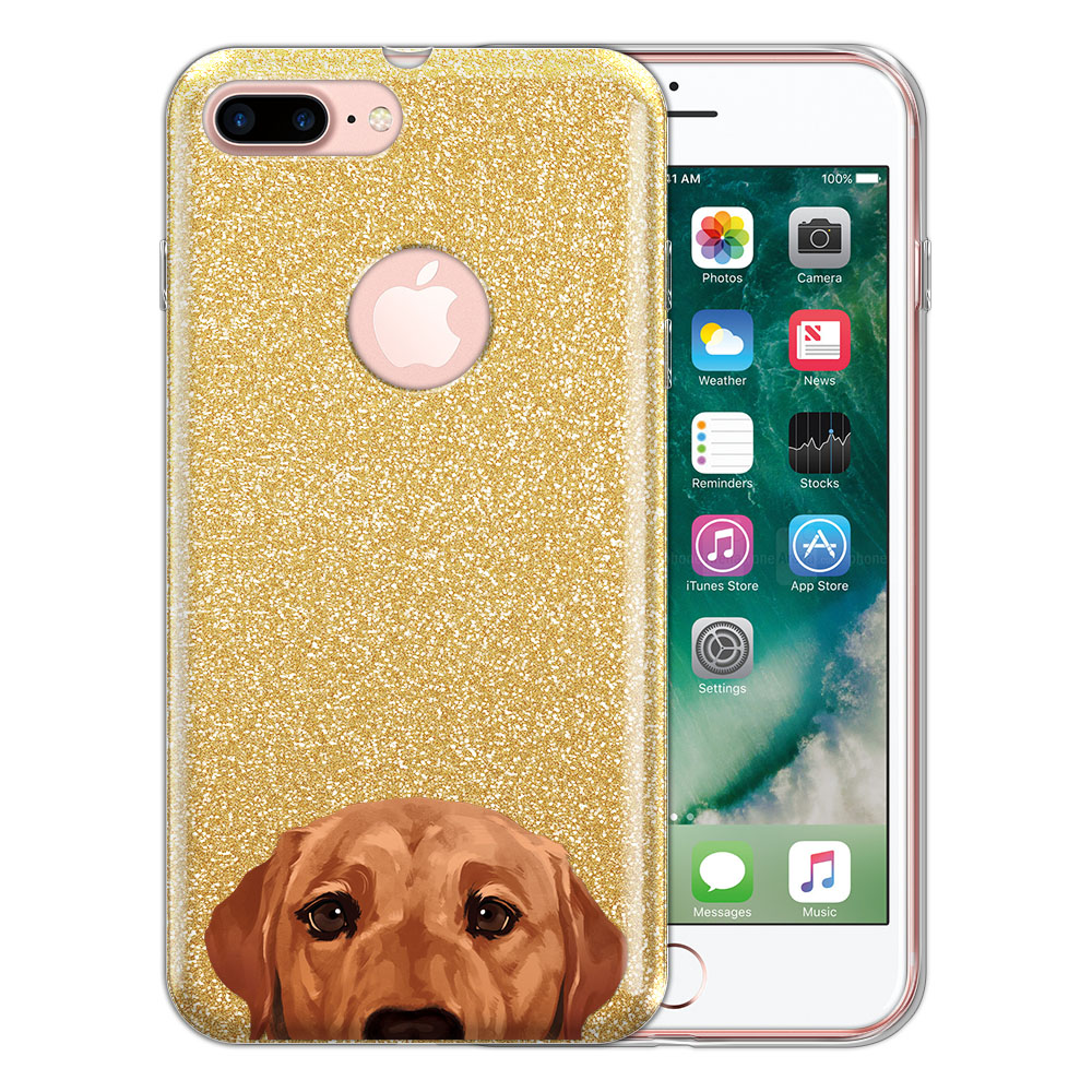 Hybrid Gold Glitter Clear Fusion Fox Red Labrador Retriever Dog Protector Cover Case for Apple iPhone 7 Plus 5.5 inch