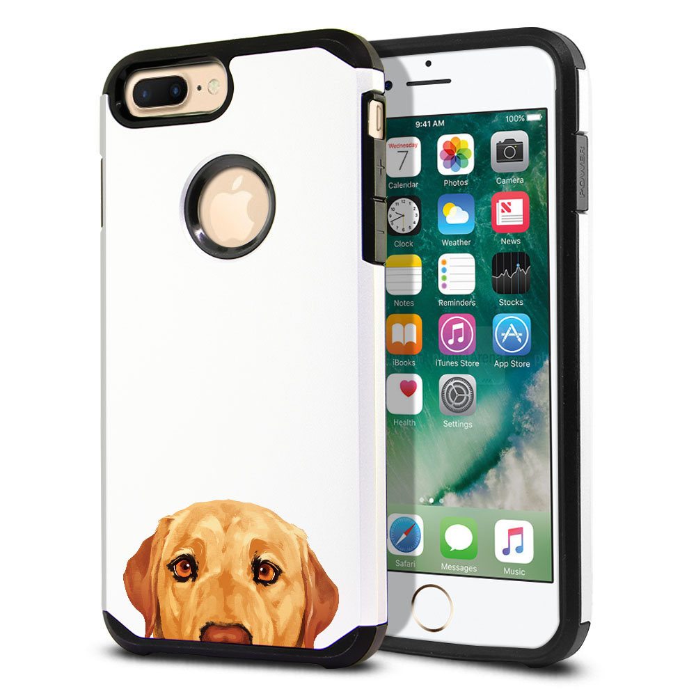 Hybrid Slim Fusion Yellow Labrador Retriever Dog Protector Cover Case for Apple iPhone 7 Plus 5.5 inch