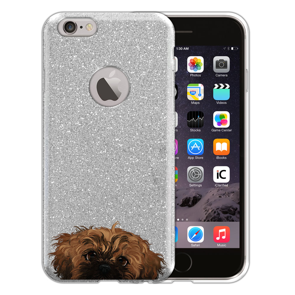 Hybrid Silver Glitter Clear Fusion Fawn Black Mask Shih Tzu Protector Cover Case for Apple iPhone 6 4.7 inch, iPhone 6s 4.7 inch 2nd Gen 2015
