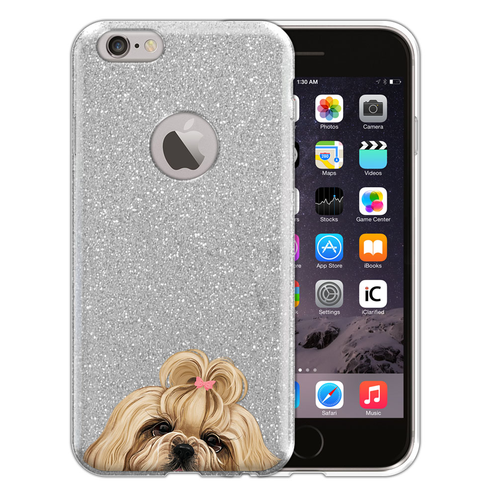 Hybrid Silver Glitter Clear Fusion Gold White Shih Tzu Protector Cover Case for Apple iPhone 6 4.7 inch, iPhone 6s 4.7 inch 2nd Gen 2015