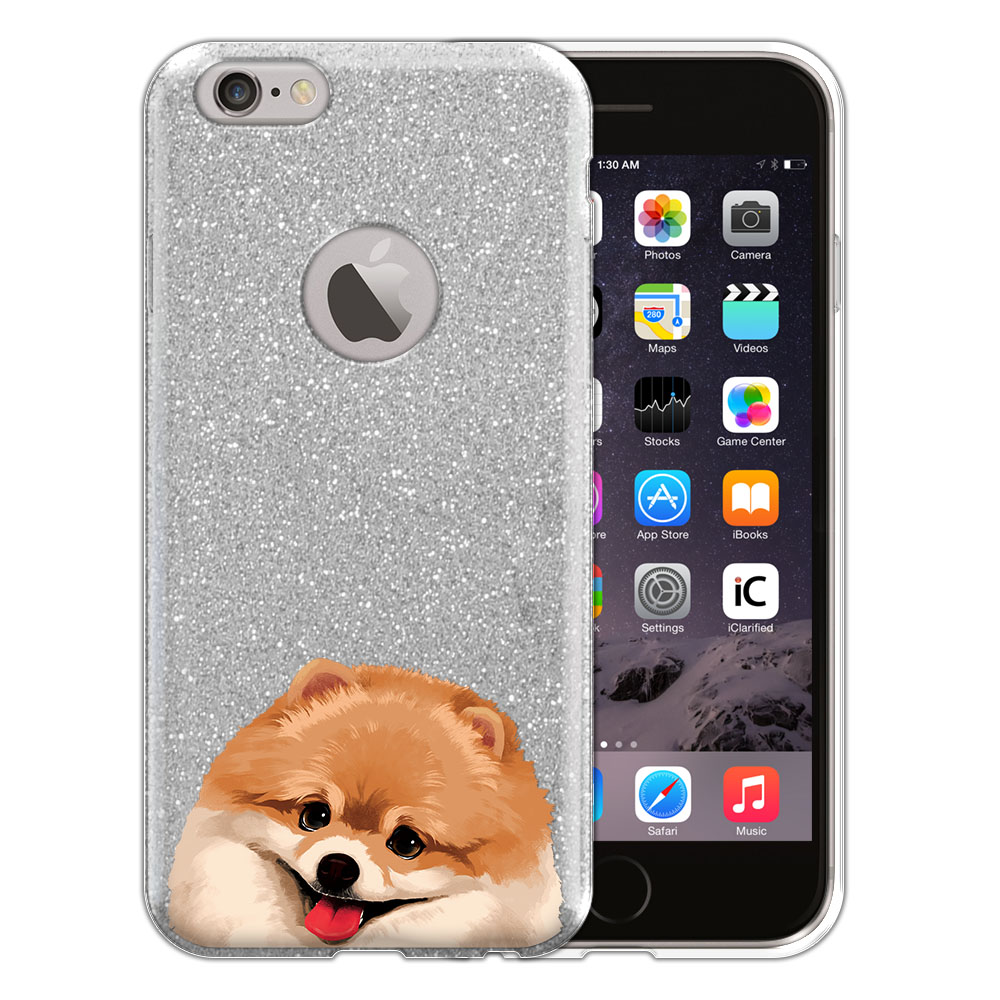 Hybrid Silver Glitter Clear Fusion Fawn Pomeranian Protector Cover Case for Apple iPhone 6 4.7 inch, iPhone 6s 4.7 inch 2nd Gen 2015